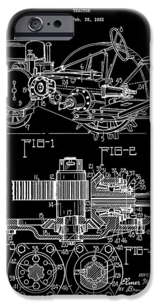 Mower iPhone Cases - John Deere Tractor Patent 1932 - Black iPhone Case by Stephen Younts