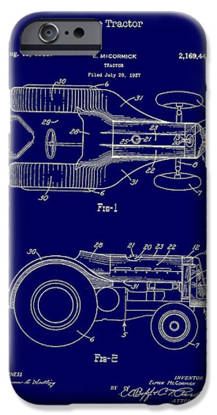 Farmer Drawings iPhone Cases - John Deere Tractor Patent 1939 iPhone Case by Mountain Dreams