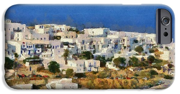Village iPhone Cases - Kastro village in Sifnos island iPhone Case by George Atsametakis