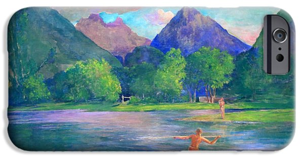 Cora Wandel iPhone Cases - La Farges The Entrance To The Tautira River -- Tahiti Fisherman Spearing A Fish iPhone Case by Cora Wandel