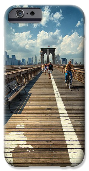 Landmarks Photographs iPhone Cases - Lanes for pedestrian and bicycle traffic on the Brooklyn Bridge iPhone Case by Amy Cicconi