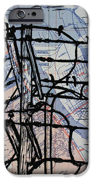 Linoluem Drawings iPhone Cases - Lines and Birds iPhone Case by William Cauthern