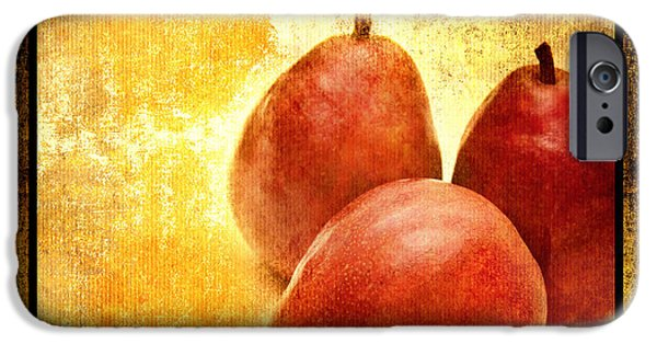 Pears Mixed Media iPhone Cases - 3 Little Red Pears Are We 2 iPhone Case by Andee Design