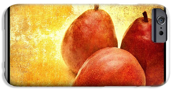 Pears Mixed Media iPhone Cases - 3 Little Red Pears Are We 3 iPhone Case by Andee Design