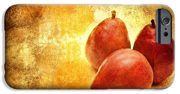 Pears Mixed Media iPhone Cases - 3 Little Red Pears Are We iPhone Case by Andee Design