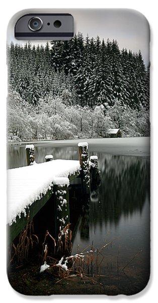 Snow Scene iPhone Cases - Loch Ard Winter Scene iPhone Case by Grant Glendinning