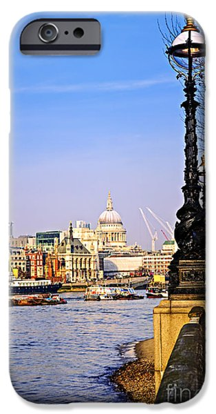 Lamppost iPhone Cases - London view from South Bank iPhone Case by Elena Elisseeva