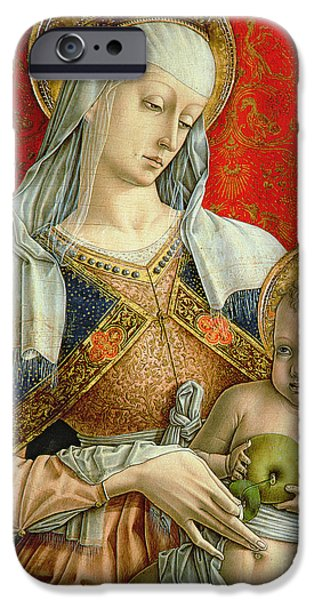 Crown Paintings iPhone Cases - Madonna and Child iPhone Case by Carlo Crivelli