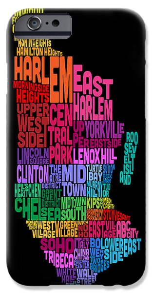Manhattan iPhone Cases - Manhattan New York Typography Text Map iPhone Case by Michael Tompsett