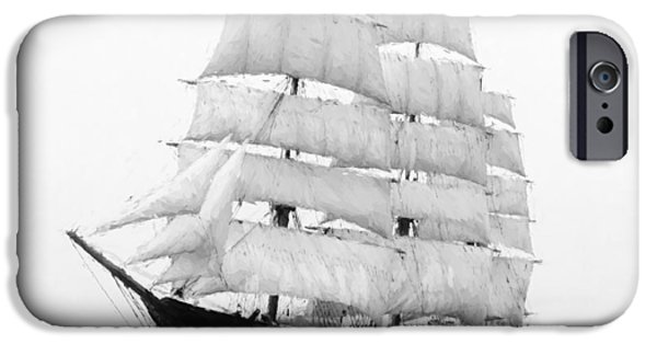 Historic Schooner iPhone Cases - 3 Masted Ship Mary L. Cushing iPhone Case by Daniel Hagerman