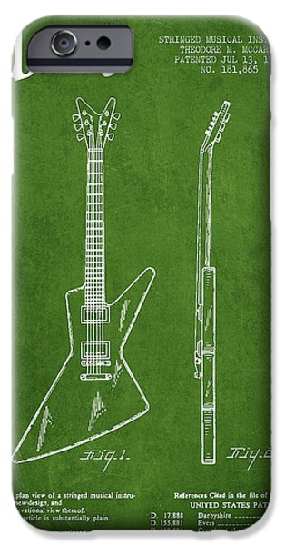 McCarty Gibson electrical guitar patent Drawing from 1958 - Green iPhone Case by Aged Pixel