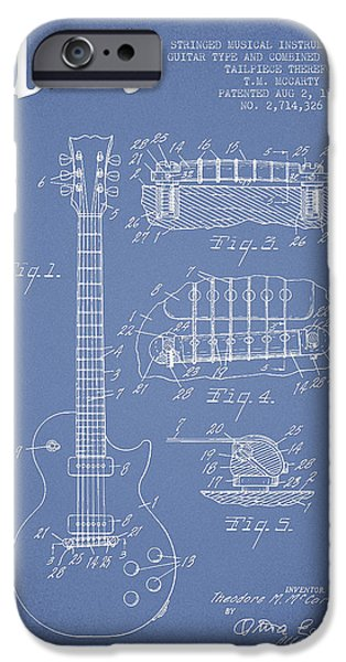 Mccarty Gibson Les Paul guitar patent Drawing from 1955 - Light Blue iPhone Case by Aged Pixel