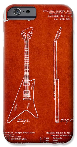 McCarty Gibson stringed instrument patent Drawing from 1958 - Red iPhone Case by Aged Pixel