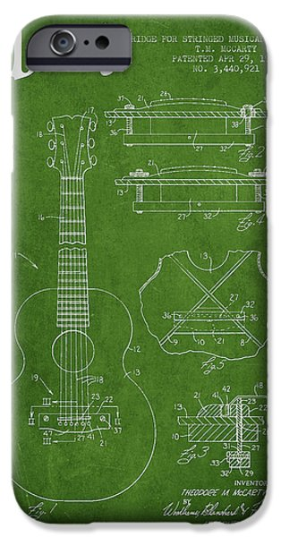 Mccarty Gibson stringed instrument patent Drawing from 1969 - Green iPhone Case by Aged Pixel