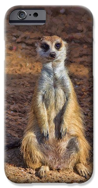 Meerkat Digital Art iPhone Cases - Meerkat iPhone Case by Guillermo Celano