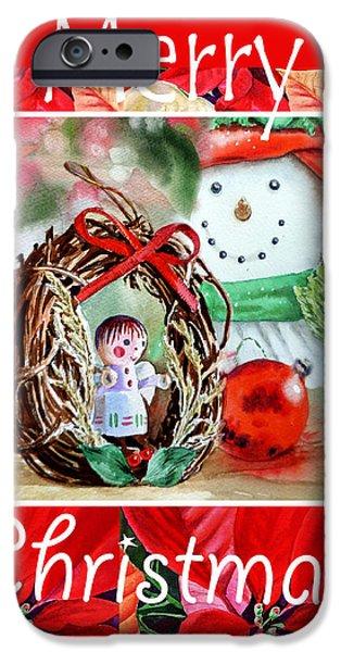 Christmas Greeting iPhone Cases - Merry Christmas iPhone Case by Irina Sztukowski