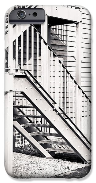 High Park Fire iPhone Cases - Metal stairs iPhone Case by Tom Gowanlock