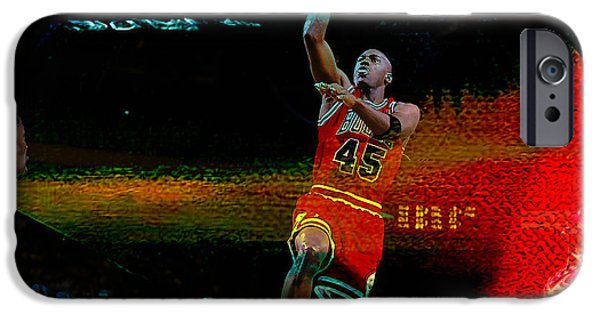 Jordan Mixed Media iPhone Cases - Michael Jordon iPhone Case by Marvin Blaine