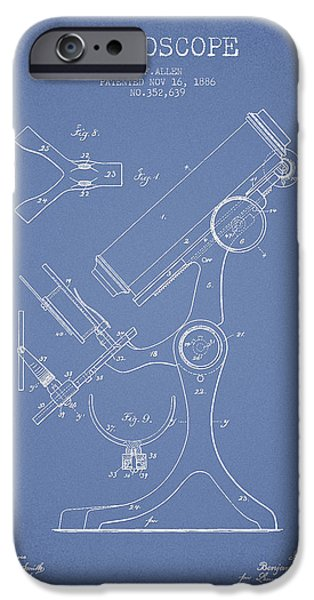 Microscope iPhone Cases - Microscope Patent Drawing From 1886 - Light Blue iPhone Case by Aged Pixel