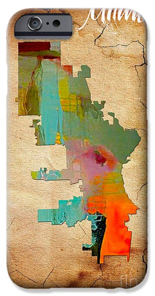 City Skyline iPhone Cases - Milwaukee Map Watercolor iPhone Case by Marvin Blaine