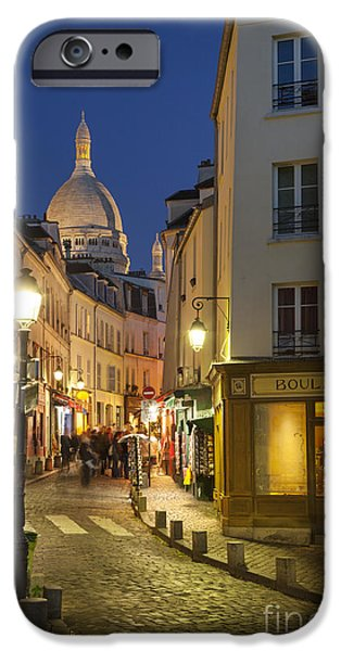 Night Lamp iPhone Cases - Montmartre Twilight iPhone Case by Brian Jannsen