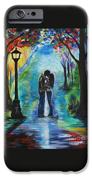 Couple iPhone Cases - Moonlight Kiss iPhone Case by Leslie Allen