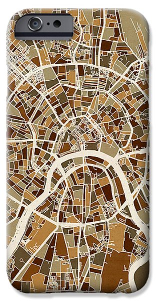 Moscow iPhone Cases - Moscow City Street Map iPhone Case by Michael Tompsett