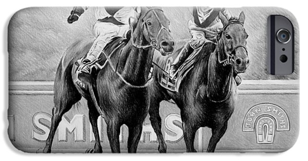 Horse Racing Drawings iPhone Cases - Nearing the finish iPhone Case by Andrew Read