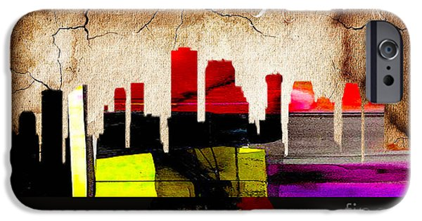 New Orleans Louisiana iPhone Cases - New Orleans Skyline Watercolor iPhone Case by Marvin Blaine