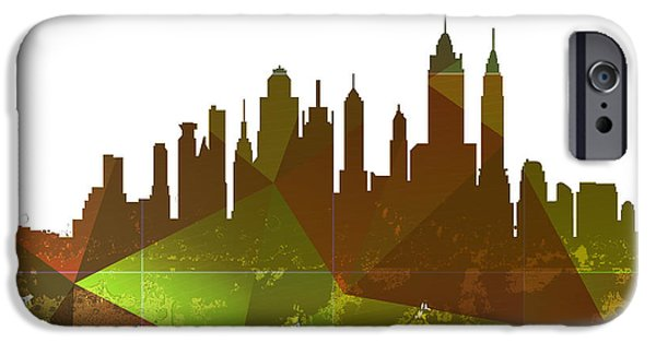 Skylines Mixed Media iPhone Cases - New York City Skyline iPhone Case by Celestial Images