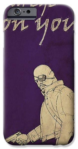 Fury Drawings iPhone Cases - Nick Fury - The Avengers iPhone Case by Pablo Franchi