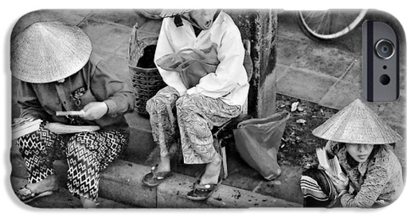 Matting iPhone Cases - 3 Non la in Hoi An-Vietman-BW iPhone Case by Jennie Breeze