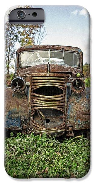 Junk Yard iPhone Cases - Old Junker Car iPhone Case by Edward Fielding