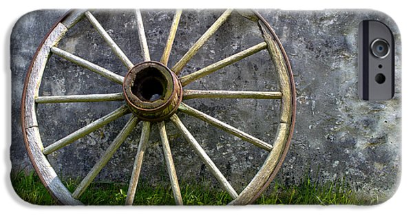 Wagon Photographs iPhone Cases - Old Wagon Wheel iPhone Case by Olivier Le Queinec