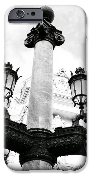 Ballet Of Colors iPhone Cases - Ornate Lamp Post Outside Of the Palais Garnier In Paris France iPhone Case by Richard Rosenshein