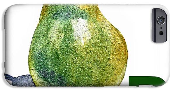 Pears iPhone Cases - P Art Alphabet for Kids Room iPhone Case by Irina Sztukowski