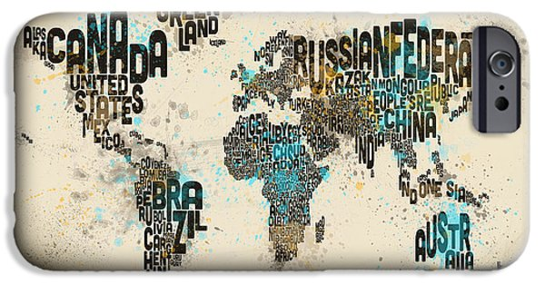 Font iPhone Cases - Paint Splashes Text Map of the World iPhone Case by Michael Tompsett
