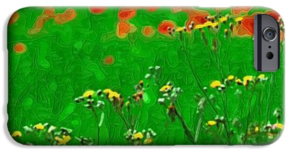 Botanical iPhone Cases - Painting on Flowers iPhone Case by Victor Gladkiy