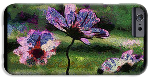 Asymmetrical iPhone Cases - 3 Panel Purple Flowers iPhone Case by Thomas Woolworth