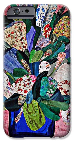 Folk Art Mixed Media iPhone Cases - Patchwork Bouquet iPhone Case by Sarah Loft