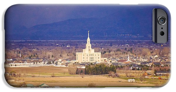 Downtown iPhone Cases - Payson Temple iPhone Case by Gloria Pasko