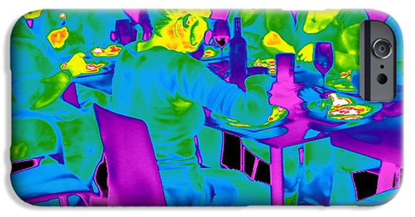 Table Wine iPhone Cases - People Sitting At A Table, Thermogram iPhone Case by Tony McConnell