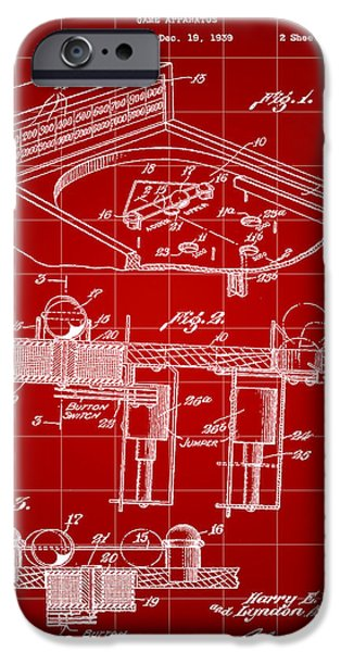 Elton John iPhone Cases - Pinball Machine Patent 1939 - Red iPhone Case by Stephen Younts