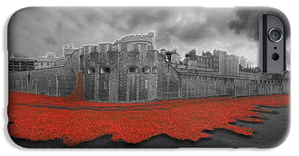 Chatham iPhone Cases - Poppies Tower of London collage iPhone Case by David French