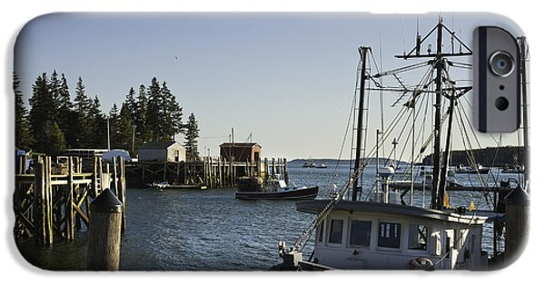 Maine Shore iPhone Cases - Port Clyde Maine boats and Harbor iPhone Case by Keith Webber Jr