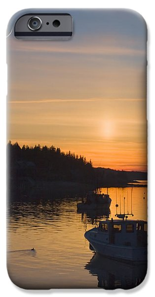 Maine Seascapes iPhone Cases - Port Clyde Maine Fishing Boats At Sunset iPhone Case by Keith Webber Jr