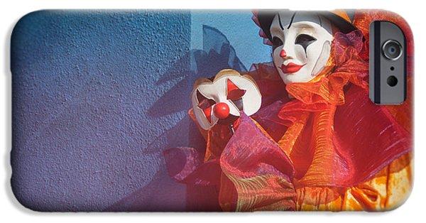 Portrait Of Evil iPhone Cases - Portrait of Clown with Mask by Zina Zinchik iPhone Case by Zina Zinchik
