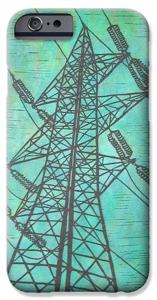 Electricity Drawings iPhone Cases - Power iPhone Case by William Cauthern