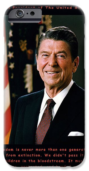 The White House Photographs iPhone Cases - President Ronald Reagan iPhone Case by Official White House Photograph