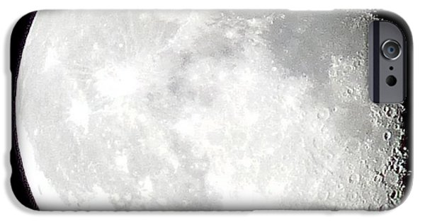 Moonscape iPhone Cases - 3 Quarter Moon iPhone Case by Teena Bowers